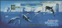 AAT SGMS112 Whales and Dolphins Miniature sheet overprinted for CAPEX '96